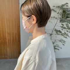 ナチュラル ショート グレージュ ショートヘア ヘアスタイルや髪型の写真・画像