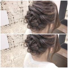 アッシュ ハイライト ヘアアレンジ フェミニン ヘアスタイルや髪型の写真・画像