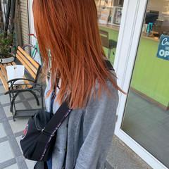 ストリート 切りっぱなしボブ オレンジ ダブルカラー ヘアスタイルや髪型の写真・画像