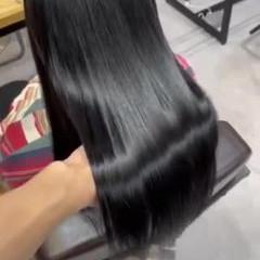 暗髪女子 暗髪 髪質改善 ブルーブラック ヘアスタイルや髪型の写真・画像