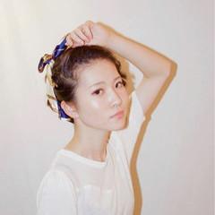 ピュア 簡単ヘアアレンジ セミロング ヘアアレンジ ヘアスタイルや髪型の写真・画像