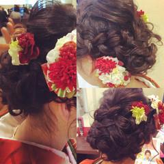 セミロング フェミニン 編み込み ヘアアレンジ ヘアスタイルや髪型の写真・画像