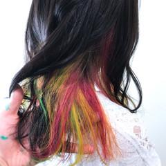 ストリート セミロング インナーカラー 秋 ヘアスタイルや髪型の写真・画像