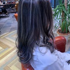 エレガント コントラストハイライト ミディアム メッシュ ヘアスタイルや髪型の写真・画像