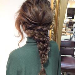 フェミニン 編み込み 外国人風 ヘアアレンジ ヘアスタイルや髪型の写真・画像