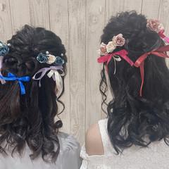 ガーリー ハーフアップ 巻き髪 コテ巻き ヘアスタイルや髪型の写真・画像
