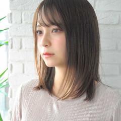 大人かわいい ミディアム 髪質改善 ストレート ヘアスタイルや髪型の写真・画像