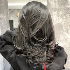 ストレート カシスレッド レイヤースタイル レイヤーカット ヘアスタイルや髪型の写真・画像