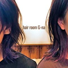 ストリート ミディアム ラベンダーアッシュ パープル ヘアスタイルや髪型の写真・画像