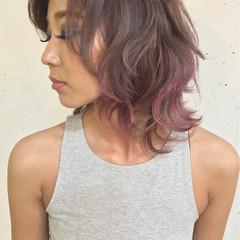 ハイライト リラックス ミディアム 秋 ヘアスタイルや髪型の写真・画像