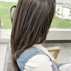 セミロング 外国人風カラー ナチュラル グレージュ ヘアスタイルや髪型の写真・画像