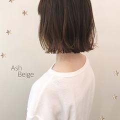 ボブ 切りっぱなし ゆるふわ ナチュラル ヘアスタイルや髪型の写真・画像