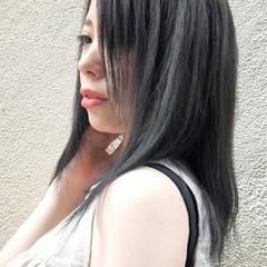 ナチュラル 黒髪 セミロング ヘアスタイルや髪型の写真・画像