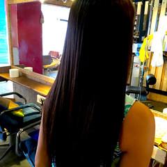 縮毛矯正 黒髪 パーマ ロング ヘアスタイルや髪型の写真・画像