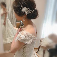 結婚式 ねじり ミディアム ヘアセット ヘアスタイルや髪型の写真・画像