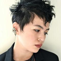黒髪 モード ショート 外国人風 ヘアスタイルや髪型の写真・画像