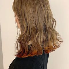 デート 裾カラー オレンジ ロブ ヘアスタイルや髪型の写真・画像