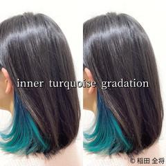 インナーカラー インナーブルー グリーン ヘアカラー ヘアスタイルや髪型の写真・画像