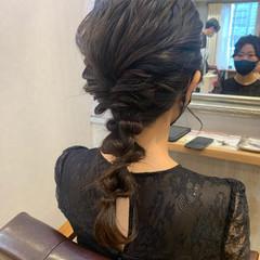 ヘアセット 結婚式ヘアアレンジ ふわふわヘアアレンジ セミロング ヘアスタイルや髪型の写真・画像