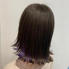ブリーチ ラベンダー 切りっぱなしボブ フェミニン ヘアスタイルや髪型の写真・画像