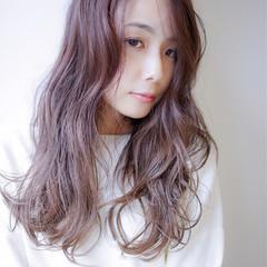 ゆるふわ セミロング 外国人風カラー ラベンダー ヘアスタイルや髪型の写真・画像