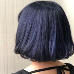 ブルーブラック ダークトーン ネイビーブルー 大人かわいい ヘアスタイルや髪型の写真・画像