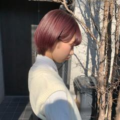 ショートボブ ラベンダーピンク ピンクパープル ショート ヘアスタイルや髪型の写真・画像