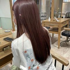 フェミニン ロング ラベンダーカラー 韓国ヘア ヘアスタイルや髪型の写真・画像