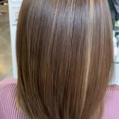 ミディアム ナチュラル 髪質改善トリートメント 髪質改善カラー ヘアスタイルや髪型の写真・画像