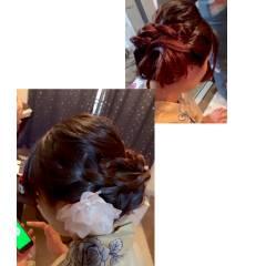 アップスタイル セミロング ナチュラル 和装 ヘアスタイルや髪型の写真・画像