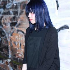 暗髪 外国人風 ボブ ブルー ヘアスタイルや髪型の写真・画像