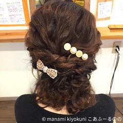結婚式 ヘアアレンジ フェミニン ハーフアップ ヘアスタイルや髪型の写真・画像