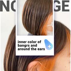 まとまるボブ ボブ 前髪インナーカラー インナーカラーオレンジ ヘアスタイルや髪型の写真・画像