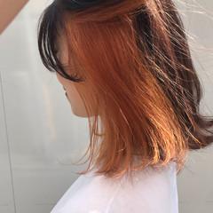 ガーリー ボブ アプリコットオレンジ オレンジベージュ ヘアスタイルや髪型の写真・画像