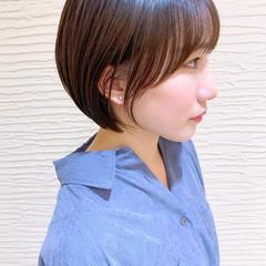 大人かわいい シースルーバング ナチュラル ショート ヘアスタイルや髪型の写真・画像