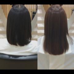 セミロング 髪質改善トリートメント 髪質改善カラー ナチュラル ヘアスタイルや髪型の写真・画像