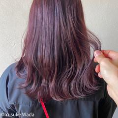 ミディアム ピンクブラウン ノーブリーチ ナチュラル ヘアスタイルや髪型の写真・画像