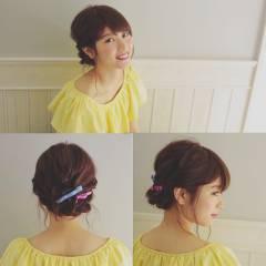 ミディアム 簡単ヘアアレンジ ショート モテ髪 ヘアスタイルや髪型の写真・画像