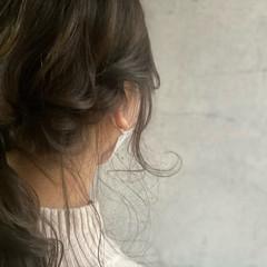 セミロング 簡単ヘアアレンジ セルフヘアアレンジ 編みおろしヘア ヘアスタイルや髪型の写真・画像