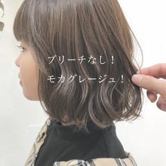 グレージュ ボブ ヘアカラー ナチュラル ヘアスタイルや髪型の写真・画像