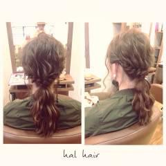 ナチュラル ヘアアレンジ 波ウェーブ ロープ編み ヘアスタイルや髪型の写真・画像
