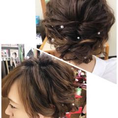 アップスタイル ヘアアレンジ セミロング ルーズ ヘアスタイルや髪型の写真・画像