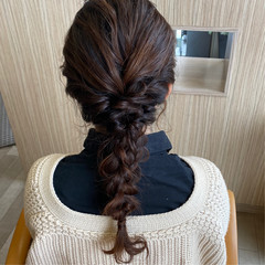編みおろし ロング ヘアアレンジ 三つ編み ヘアスタイルや髪型の写真・画像