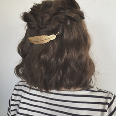 ヘアアレンジ ボブ ハーフアップ ロープ編み ヘアスタイルや髪型の写真・画像