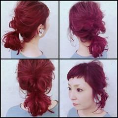 オン眉 編み込み 簡単ヘアアレンジ ミディアム ヘアスタイルや髪型の写真・画像