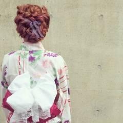 花火大会 お祭り ヘアアレンジ ガーリー ヘアスタイルや髪型の写真・画像