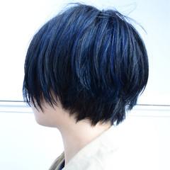 ハイライト 黒髪 ブルー メッシュ ヘアスタイルや髪型の写真・画像