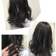 ストリート 暗髪 イルミナカラー セミロング ヘアスタイルや髪型の写真・画像