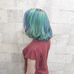 ダブルカラー 外国人風カラー ハイトーン ミディアム ヘアスタイルや髪型の写真・画像