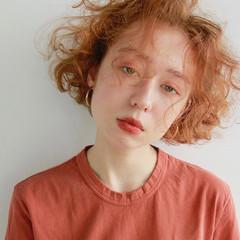 パーマ ブリーチ オレンジ ボブ ヘアスタイルや髪型の写真・画像